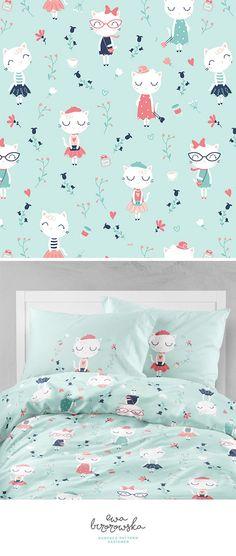 Très chic - mint textile surface pattern design with elegant french cats and some floral. Paris, Paris, Paris!