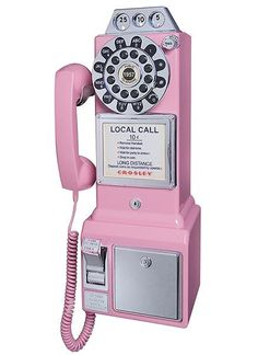 CR56-PI Crosley 1950's Classic Pay Phone - Pink Telephone