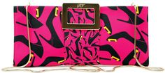 The Look - Graphic Prints and Acid Colors | Palm Beach Illustrated. Shoe-print satin clutch with metal buckle closure and chain strap ($1,250), Roger Vivier.