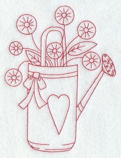 Watering Can (Redwork)