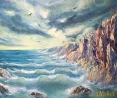 (c) Cliffside Shore by Marwan Kishek. Oil on canvas 20 Seascape Paintings, Oil Paintings, Oil On Canvas, Waves, Ocean, Clouds, Sky, Beach, Artist