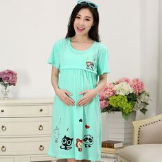 Cotton Cartoon Maternity 2016New Sleepwear Pregnant Women Pajamas Nursing Breast Feeding Nightgown Clothes For short Sleeve