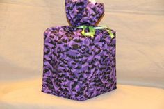 Halloween Bats Purple 100% cotton fabric tissue box cover fabric gift bag cube #Handmade