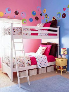Spot it. white bunk beds in dot theme room Girls Bunk Beds, White Bunk Beds, Kid Beds, Twin Girls, Teenage Girl Bedrooms, Girls Bedroom, Childs Bedroom, Kid Bedrooms, Trendy Bedroom