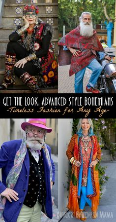 """Get the Look: Advanced Style Bohemians. their style isn't just for """"old people"""". I believe their style is absolutely ageless and can be embraced and worn by any one at any age. #bohemian #boho #advancedstyle #fashion"""