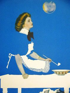 Coles Phillips FADEAWAY GIRL DAYDREAMING of MAN in MOON 1911 Antique Art Matted #Vintage