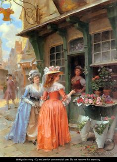 Henri Victor Lesur The Flower Market painting, oil on canvas & frame; Henri Victor Lesur The Flower Market is shipped worldwide, 60 days money back guarantee. Classic Paintings, Old Paintings, Paintings I Love, Paintings For Sale, Victorian Paintings, Victorian Art, Vintage Abbildungen, Art Ancien, Creation Photo