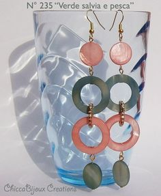 VERDE SALVIA E PESCA - Sage green and peach earrings - Spring earrings - Summer earrings by ChiccaBijoux Creations on Facebook. SOLD!