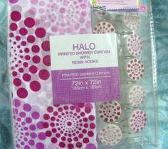 HALO FABRIC Shower CURTAIN ~ WHITE / PINK DOT ~ Soft 72 x 72 + 12 CURTAIN HOOKS