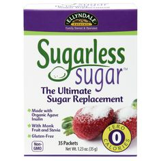 Sugarless Sugar™ The ultimate sugar replacement | Organic Agave Inulin with Monk Fruit and Stevia (35 Packets). Ingredients: Organic Inulin (from Blue Agave), Silica, Purified Stevia Extract and Monk Fruit Extract. One packet (1g) provides zero calories and contains 1g of dietary fiber. 0g of sugar per packet. Ellyndale® Foods, a family-owned and operated company. #sugarfree #sweetener #nongmosweetener #organic #organicsweetener #inulin #sugarlesssugar  #vegan #vegetarian #sugarfreediet
