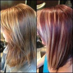 blonde hair with cherry red highlights | Violet/Cherry with Bright Blonde Peekaboo Panels | Hair Cuts, Colors ...