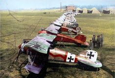 German Albatros D.III's of Jagdstaffel 11 and Jagdstaffel 4 at Roucourt, near Douai, France. April 1917.