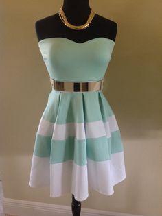 Mint Skater Dress with metal plate belt.  LOVE!
