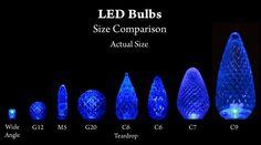 c7 & c9  light bulb size comparison   What are L.E.D.'s (Light Emitting Diodes)