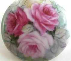 Limoges Hand Painted Porcelain Pink Roses Flowers Vintage Old Pin Brooch Signed | eBay