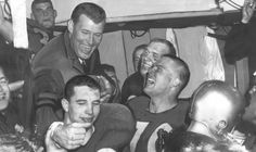 University of Washington football coach Jim Owens (top) celebrates ...