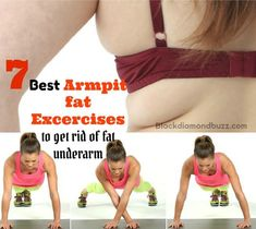 Losing that arms fat shouldn& be problem . Here are 7 Best Armpit Fat Exercises to Get Rid of Underarm Fat and Back Bulge in a Week.Shrink that arm fat now Arm Pit Fat Workout, Belly Fat Workout, Fitness Tips, Health Fitness, Armpit Fat, Lower Belly Fat, Back Exercises, Fat To Fit, Get In Shape