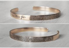 Actual Fingerprint Bracelet - Actual Handwriting Bracelet - Memorial Cuff Bracelets - Children Fingerprints - PB04F