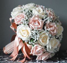 Bespoke bridal bouquet of artificial roses created for bride to be Lisa. Vintage peach roses mixed with blush peach roses along with masses of gypsophila. Artificial Bridal Bouquets, Small Bridal Bouquets, Vintage Bridal Bouquet, Rose Bridal Bouquet, Bride Bouquets, Bridal Flowers, Bridesmaid Bouquet, Blush Roses, Wedding Themes