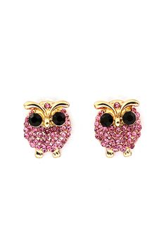 Tourmaline Crystal Owl Earrings | Emma Stine Jewelry Earrings
