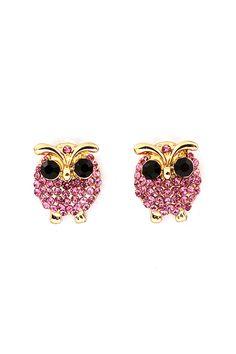 Crystal Owl Earrings in Tourmaline
