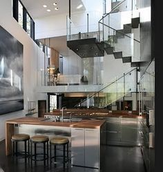 Uniqueness Appliances, sometimes into the interior design style for your home, Special Glass Staircase. This glass stairs below, has a stylish design Interior Exterior, Interior Architecture, Beautiful Architecture, Modern House Design, Contemporary Design, Interior Decorating, Interior Design, Modern Interior, Home Additions