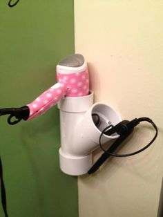 curling iron and blow dryer holder with pvc