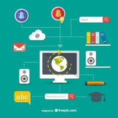 Computers and Education Concepts Free Vector Vector Free Download, Free Vector Graphics, Free Vector Art, Wallpaper Background Design, Flow Chart Template, Art Images, Design Elements, Web Design, Clip Art