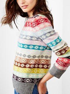 Fair isle stripe wool sweater Product Image