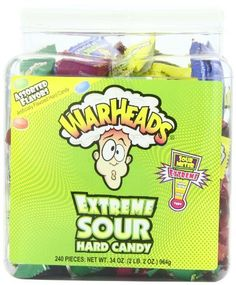 Warheads Extreme Sour Hard Candy (Pack of A tub of Warheads extreme sour candy will make you pucker up Come in five assorted flavors including apple, black cherry, blue raspberry, lemon, and watermelon Chocolate Rocks, Chocolate Covered Fruit, Chocolate Babies, Melting Chocolate, Candy Recipes, Gourmet Recipes, Candy Videos, Candy Gift Baskets, Candy Factory