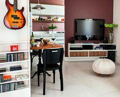 Apartamento pequeno decorado de 37 m - foto com vista para sala jantar e cozinha