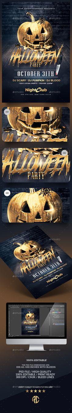 Halloween Party   Gold Pumpkin Flyer Template PSD