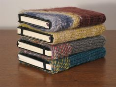 Knit Moleskin Cover - this would be a great way to display old sketchbooks without them looking cluttery