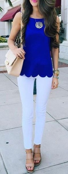 Cobalt Blue Scallop Top + White Jeans                                                                             Source