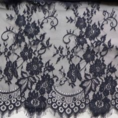 Black lace fabric black dresses lace fabric by FabricTrims on Etsy
