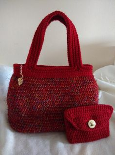 Crocheted Crimson Evening Hand Bag With Lining. Handmade Bag With Matching Purse. Gift Idea, Christmas, Valentine's Day, Mother's Day