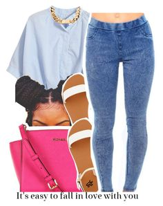 A fashion look from July 2015 featuring Chicnova Fashion blouses, bebe sandals and MICHAEL Michael Kors messenger bags. Browse and shop related looks. Cute Casual Outfits, Edgy Outfits, Swag Outfits, Summer Outfits, Girl Outfits, Fashion Outfits, Fashion Blouses, School Outfits, Dope Fashion