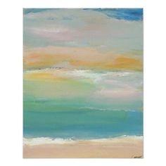 Shop CricketDiane Ocean Beach Poster - Summer Day created by CricketDiane. Different Kinds Of Art, Beach Posters, Blue Poster, Beach Print, Modern Artwork, Ocean Beach, Custom Posters, Beach Themes, Original Paintings