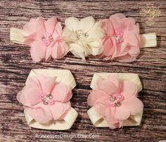 Venda de gasa rosa claro y marfil y sandalias por PrincessesDesign