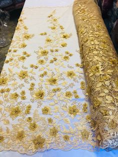 Bridal Lace Fabric - Hand Embroidered Flower Pearls GOLD For Veil Mesh Dress Top Wedding Decoration By The Yard White Lace Fabric, Bridal Lace Fabric, Embroidered Flowers, Beaded Flowers, Dear Costume, Prom Dresses, Dance Dresses, Bridesmaid Dresses, Wedding Dresses
