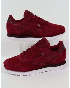 6bfba5dd4463d7 reebok classic leather np trainers in burgundy - retro  80s suede (uk sizes)