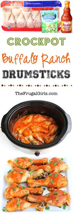 Crockpot Buffalo Chicken Drumsticks Recipe!  {EASY!}  Just 3 ingredients and you've got the perfect Crock Pot Dinner, Appetizer, or Party Food! | TheFrugalGirls.com