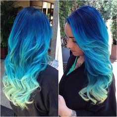 Blue to cool mint hair by Candice Alice in Beverly Hills y'all