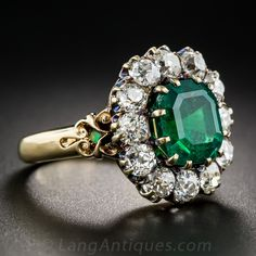 Vintage Carat Emerald and Diamond Halo Ring - Victorian Jewelry - Vintage Jewelry Sapphire Band, Halo Diamond, Diamond Cuts, Victorian Jewelry, Antique Jewelry, Vintage Jewelry, Emerald Ring Vintage, Vintage Rings, Emerald Rings