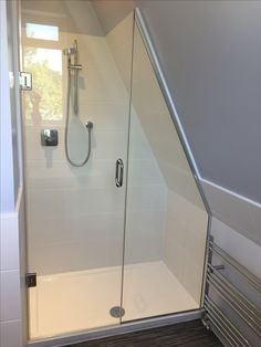 The control does not need to be in the centre! This looks fine. The control does not need to be in the centre! This looks fine. Attic Shower, Small Attic Bathroom, Small Toilet Room, Attic Master Bedroom, Loft Bathroom, Tiny Bathrooms, Upstairs Bathrooms, Attic Rooms, Bathroom Renos