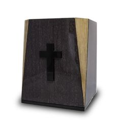 Apricot Wood Cremation Urn - Cross