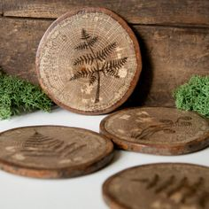 Set of 4 Rustic Wood Slice Coasters with cork by ForageWorkshop, $45.00