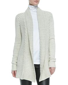 Ribbed Open-Front Knit Cardigan, Soft Gray by Vince at Bergdorf Goodman.