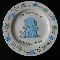 New baby baby boy or baptism hand painted gift plate by hand painted personalized baby plate with little elephant great baptism or birth gift negle Gallery