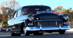 """The pro street Tri-Five Chevy """"Fat is not only super clean and mean, but is a screaming performer as well. Check out the video! Chevy Ssr, 1955 Chevy, 1955 Chevrolet, Chevrolet Camaro, Good Looking Cars, Drag Racing, Outlaw Racing, Drag Cars, American Muscle Cars"""